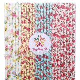200pcs Colorful Floral Paper Straws Mixed