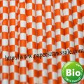 Orange Checkered Printed Paper Straws 500pcs