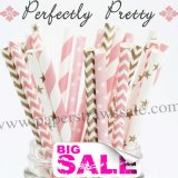 250pcs PERFECTLY PRETTY Themed Paper Straws Mixed