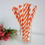 Striped Paper Straws With Orange Red 500pcs