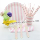 168 pieces/lot Pink Striped Party Tableware Set