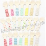 Wholesale Printed Wooden Fork 2200pcs Mixed 22 Colors