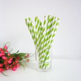Chartreuse Striped Design Paper Straws 500pcs