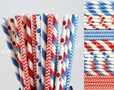 350pcs Dr. Seuss Red and Blue Paper Straws Mixed