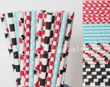 200pcs Blue Red Black Party Paper Straws Mixed