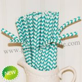 Chevron Bendy Paper Straws Aqua Printed 500pcs