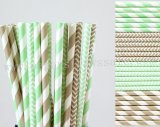200pcs Mint Green and Grey Paper Straws Mixed
