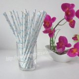 Paper Drinking Straws Sky Blue Heart 500pcs