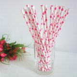 Hot Pink Hearts Printed Paper Straws 500pcs