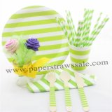 168 pieces/lot Green Striped Party Tableware Set
