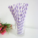Lavender and White Striped Paper Straws 500pcs