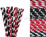 200pcs Black Red Ladybug Paper Straws Mixed