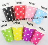480pcs 90Z White Dot Paper Drinking Cups Mixed 8 Colors