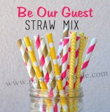 200pcs Be Our Guest Tea Party Paper Straws Mixed