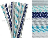 300pcs Blue and Silver Party Paper Straws Mixed
