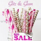 250pcs GLITZ & GLAM Paper Straws Mixed