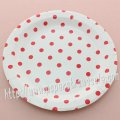 "9"" Round Paper Plates Red Polka Dot 60pcs"