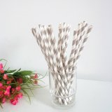Grey Stripe Printed Paper Drinking Straws 500pcs