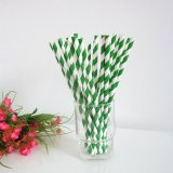 Forest Green Striped Paper Straws Wholesale 500pcs