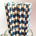 Navy White Circle Stripe Paper Straws 500pcs