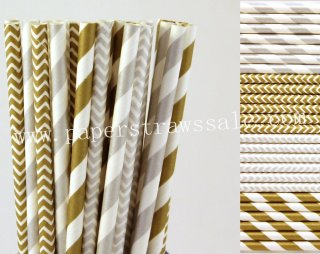 200pcs Metallic Silver and Gold Paper Straws Mixed