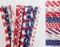 200pcs 4th of July Red Blue Paper Straws Mixed