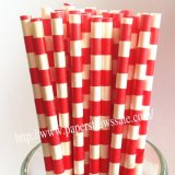Red Circle Sailor Striped Paper Straws 500pcs