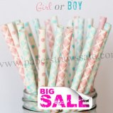 250pcs Girl or Boy Paper Straws Mixed