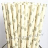 Silver Hearts Print Paper Drinking Straws 500pcs