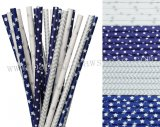200pcs Dark Blue and Silver Paper Straws Mixed