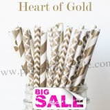 200pcs HEART OF GOLD Paper Straws Mixed