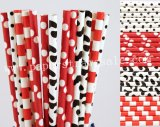 200pcs Red and Black Party Paper Straws Mixed