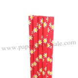 Red Paper Drinking Straws Daisy Printed 500pcs