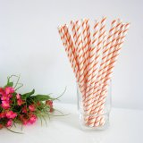 Paper Drinking Straws Printed Orange Thin Stripe 500pcs