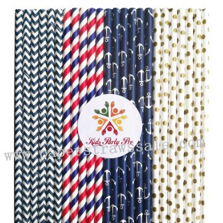 200pcs Nautical Party Paper Straws Mixed