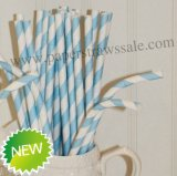 Light Blue Stripe Bendy Paper Straws 500pcs