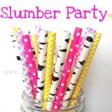 200pcs Slumber Party Themed Paper Straws Mixed
