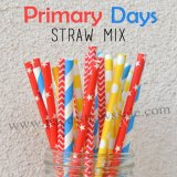 200pcs Primary Days Theme Paper Straws Mixed