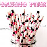 Casino Pink Cards Paper Drinking Straws 500pcs