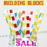 200pcs BUILDING BLOCKS Theme Paper Straws Mixed