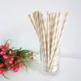 White and Wheat Striped Paper Straws 500pcs