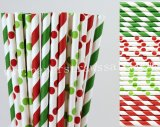 200pcs Red and Green Party Paper Straws Mixed
