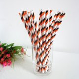 Double Orange and Black Striped Paper Straws 500pcs