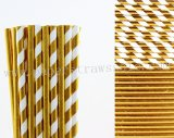 200pcs Metallic Gold Foil Paper Straws Mixed