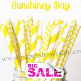300pcs SUNSHINEY DAY Yellow Paper Straws Mixed