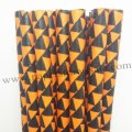Orange Paper Drinking Straws Black Bunting Print 500pcs
