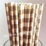Grey Circle Stripe White Paper Straws 500pcs