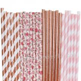 200pcs Rose Gold and Blush Pink Paper Straws Mixed