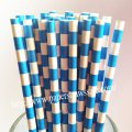 Dodger Blue Circle Striped Paper Straws 500pcs
