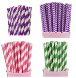200pcs Jeweled Tones Theme Paper Straws Mixed